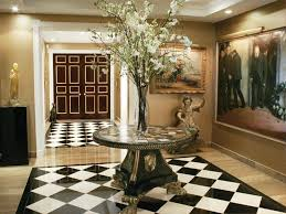 Black Foyer Table Furniture Cool Foyer Table And Floral Arrangement With