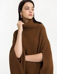brown sweater brown cape sweater pixie market