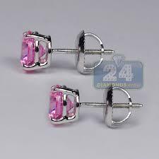 womens stud earrings womens pink swarovski stud earrings 14k white gold 2 0 ct