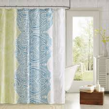 Bathroom Shower Curtain Decorating Ideas Bathroom Coral Mint Chevron Ikat Shower Curtain For Bathroom