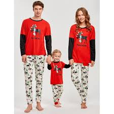 wholesale sleeve elk print matching family pajama
