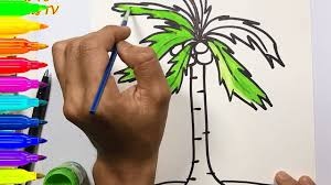how to draw and color a coconut tree with water color teaching