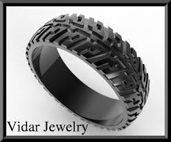 mens rubber wedding bands on sale black gold tire tread men wedding ring on handmade artists