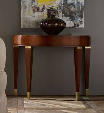 half oval console table mid century half oval console table tapered legs and brass accents