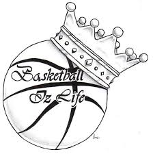 black outline crown with basketball tattoo stencil by julie