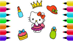 draw set of accessories for hello kitty coloring pages hat