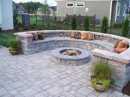 St Paul Patios by Paver Patio With Firepit And All Around Sitting Wall Backyard