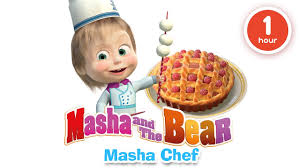 masha and the bear cooking and eating in the kitchen with masha