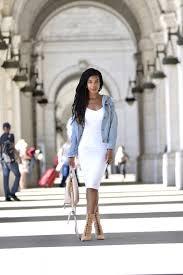fall style romwe distressed denim jacket white midi dress