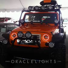 led lights for jeep wrangler oracle color changing halo headlight and foglight light kits for
