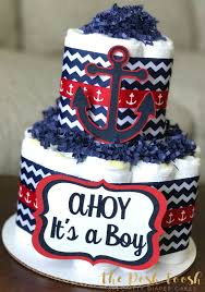 2 Tier Navy and Teal Nautical Diaper Cake Boy Baby Shower