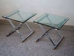 caign style side tables reserved sale pair of x base caign style polished chrome
