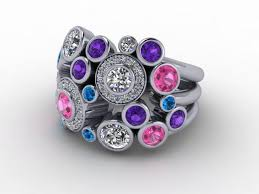 coloured stone rings images Bubble rings round brilliant cut jpg