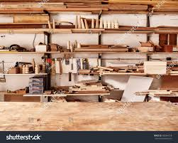 Wood Plank Shelves by Woodwork Workshop Wall Many Shelves Holding Stock Photo 382064218