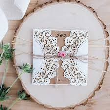 country pink paper flower rustic laser cut wedding invitations