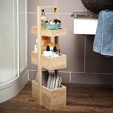 three tier 90cm tall three box solid oak bathroom storage stand