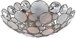 capiz flush mount light crystorama 524 sa palla three light ceiling mount clear hand cut