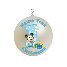baby boy first christmas blue mickey mouse with a big number