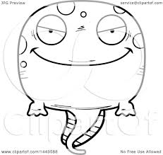 clipart graphic of a cartoon black and white lineart evil tadpole