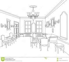 interior outline sketch furniture room blueprint architectural