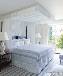 blue and white bedroom elegant bedroom photo in atlanta with