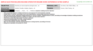 Machine Operator Resume Sample by Injection Molding Machine Operator Resume Sample