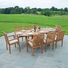 Stackable Chairs For Dining Area Classic Teak Garden Furniture Dining Set Eight Seat Oval Teak