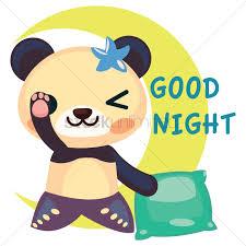 free panda in mermaid costume saying goodnight vector image