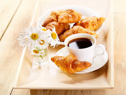 breakfast croissants coffee daisies wallpaper other