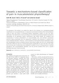 towards a mechanisms based classification of pain in
