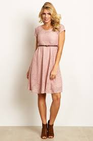 pink lace belted maternity dress