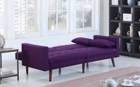 Purple Sofa Bed Dom Modern Linen Recliner Futon Sofamania