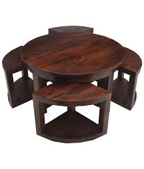 round coffee table with 4 stools round coffee table with 4 nested stools