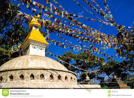 Prayer Flags Monkey Temple With Buddhist Prayer Flags Kathmandu Stock Image