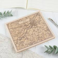 Leather Guest Book Leather Visitors Book With Personalised Map Prints Atlas U0026 I