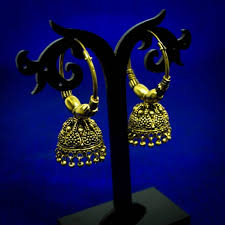 antique gold jhumka earrings antique gold hoop jhumka earrings beadsobling