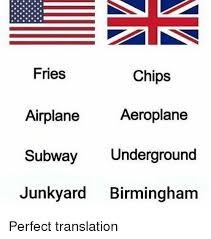 Meme Translation - fries chips aeroplane airplane subway underground junkyard