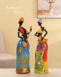 creative african lady figurine girls woman resin angel craft dolls