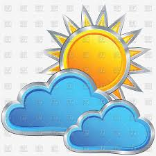 sun with cloud cloudy weather icon vector clipart image 9177