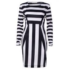 Black And White Striped Bodycon Dress Womens Black U0026 White Striped Long Sleeve Bodycon Dress