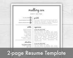 Templates For Resumes And Cover Letters Cover Letter Etsy