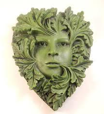 primavera green woman wall plaque heart shaped greenwoman garden