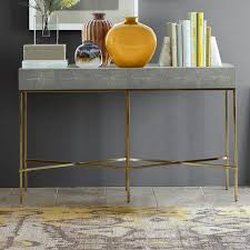 Yellow Console Table Faux Shagreen Console Table Williams Sonoma