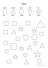 1 free esl shapes colours square circle triangle heart star worksheets