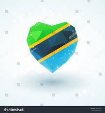 Flag Of Tanzania Flag Tanzania Shape Diamond Glass Heart Stock Vector 462537544