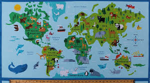 map continents 23 5 x 44 panel animals world map continents countries oceans