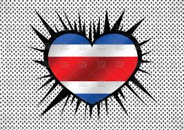 Flag Costa Rica Heart Shaped Flag Of Costa Rica Royalty Free Vector Clip Art Image