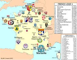 07 World Map by France Ligue 1 Attendance Map 2006 07 Season Billsportsmaps Com
