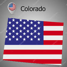 Usa Flag Vector Colorado State Map With Us Flag Inside And Map Pointer With