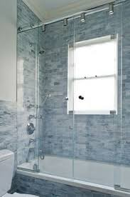 Bathroom Shower Windows We Remodeled White Subway Tile Gray Grout Glass Block Window